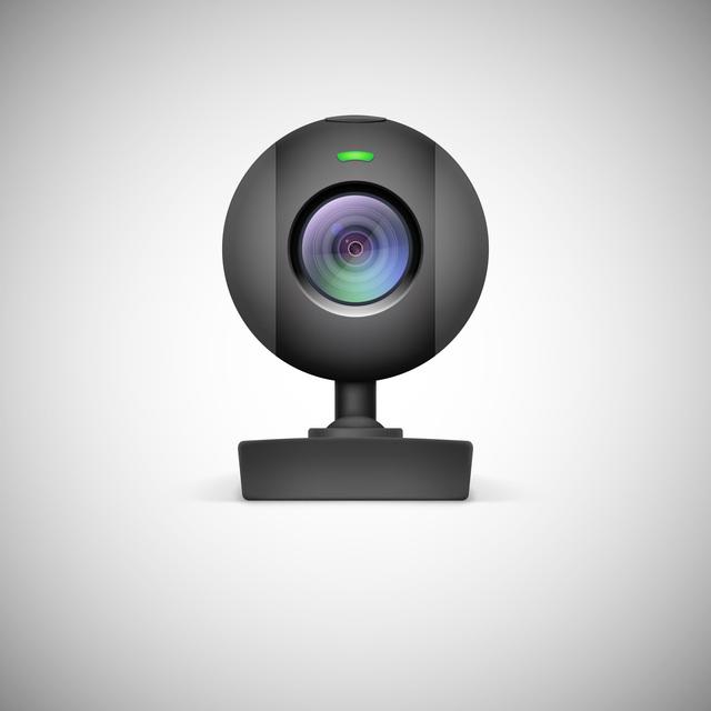 Realistic white webcam icon.